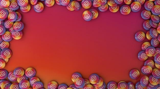 Renderowania 3d Wielu Kolorowych Pigułek Błyszczący Instagram Na Kolorowym Tle Premium Zdjęcia