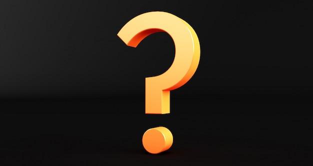 Renderowania 3d Znak Zapytania Na Czarnym Tle. Wykrzyknik I Znak Zapytania Premium Zdjęcia