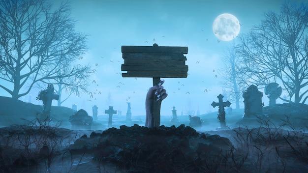 Renderowania 3d Zombie Ręka Z Drewnianą Tablicą Z Ziemi W Nocy Na Tle Księżyca Na Cmentarzu Premium Zdjęcia
