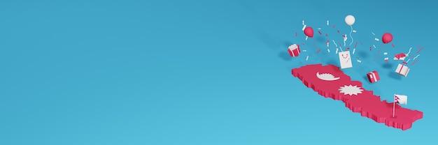 Renderowania Mapy 3d Flagi Nepalu Z Okazji Krajowego Dnia Zakupów I Dnia Niepodległości Premium Zdjęcia