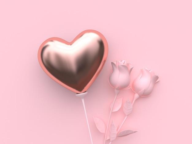 Renderowanie 3d balonu w kształcie serca i róż Premium Zdjęcia