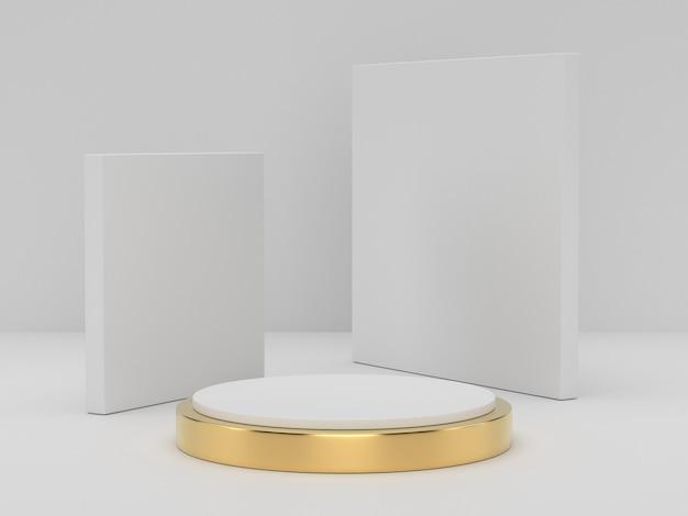 Renderowanie 3d Białego Podium Z Cokołu Na Jasnym Tle, Abstrakcyjne Minimalne Puste Miejsce Na Podium Dla Produktu Kosmetycznego, Premium Zdjęcia