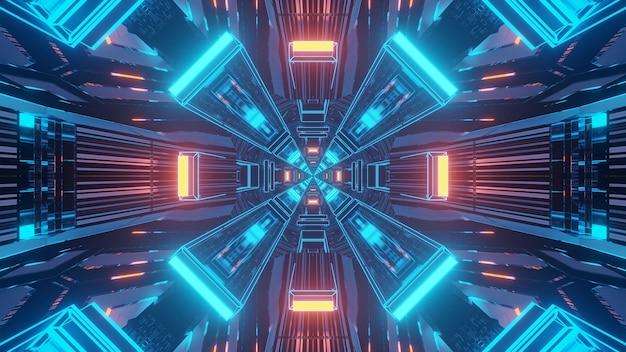Renderowanie 3d Futurystyczne Tło Sci-fi Techno Ze światłami Tworzącymi Fajne Kształty Darmowe Zdjęcia