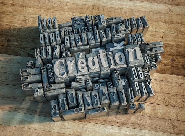 Renderowanie 3d Metalowych Liter Prasy Drukarskiej Tworzących Słowo Tworzenie Premium Zdjęcia