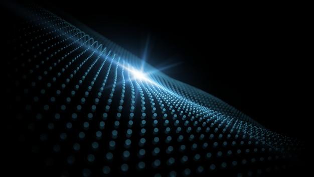 Renderowanie 3d niebieskiej abstrakcyjnej geometrii kropkuje fale światłem flary. Premium Zdjęcia