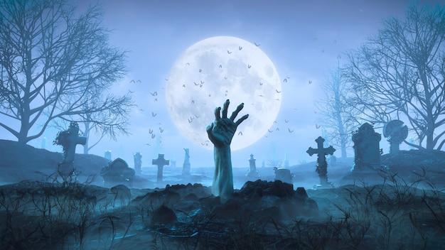 Renderowanie 3d Ręka Zombie Czołga Się Z Ziemi W Nocy Na Tle Księżyca Na Cmentarzu Premium Zdjęcia