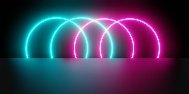 Renderowanie 3d Różowego Niebieskiego świecącego światła Neonowego Premium Zdjęcia