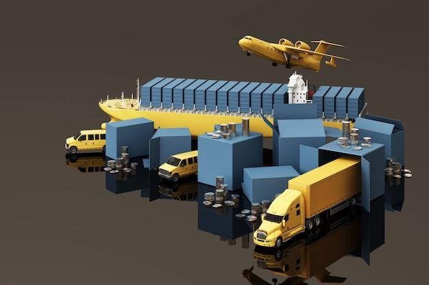 Renderowanie 3d Skrzynki Ze Skrzyniami Otoczonej Kartonami, Kontenerowca, Plan Lotu, Samochód, Furgonetka I Ciężarówka Premium Zdjęcia