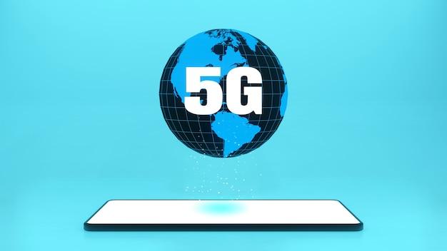 Renderowanie 3d Smartfon Z Szybkim Połączeniem Internetowym 5g Internetu Przedmiotów Iot Premium Zdjęcia