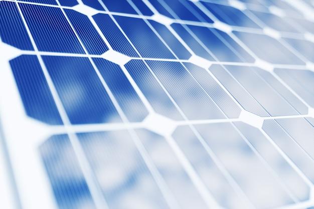 Renderowanie 3d Technologia Wytwarzania Energii Słonecznej. Alternatywna Energia. Moduły Panelu Baterii Słonecznych Z Niebieskim Niebem Premium Zdjęcia