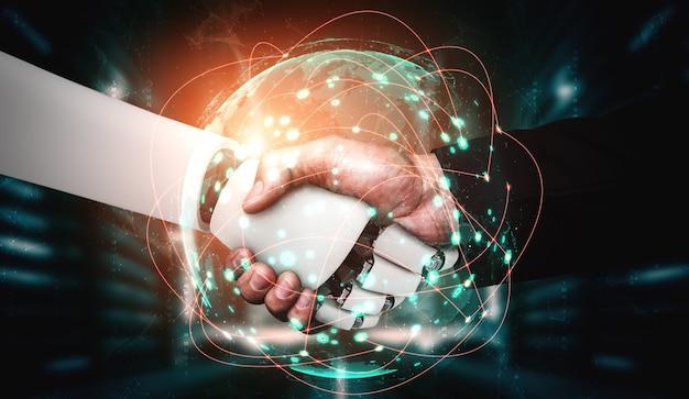 Renderowanie 3d Uścisk Dłoni Humanoidalnego Robota We Współpracy Z Technologią Przyszłości Premium Zdjęcia