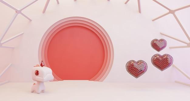 Renderowanie 3d Walentynek. Złote Serce I Słodkie Jednorożce Na Różowym Tle Koła, Minimalistyczne. Symbol Miłości. Nowoczesne Renderowanie 3d. Premium Zdjęcia