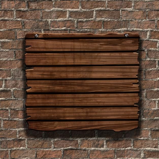 Renderowanie 3d z drewna grunge podpisania na starej cegły ściany Darmowe Zdjęcia