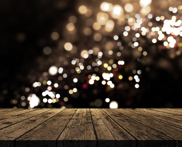 Renderowanie 3d Z Rustykalnym Drewnianym Stole Na Tle światła Bokeh Darmowe Zdjęcia