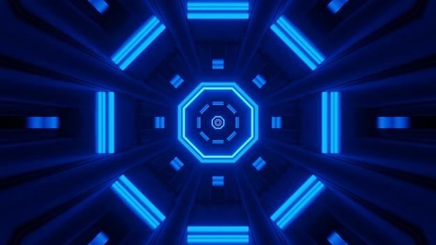 Renderowanie Abstrakcyjne Futurystyczne Tło Ze świecącymi Neonowymi Niebieskimi światłami Darmowe Zdjęcia