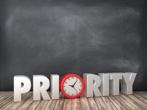 Renderowanie Ilustracja Priorytetu Słowa Z Zegarem Na Tablicy Premium Zdjęcia
