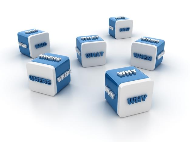 Renderowanie Ilustracji Bloków Płytek Za Pomocą Słów Pytania Premium Zdjęcia