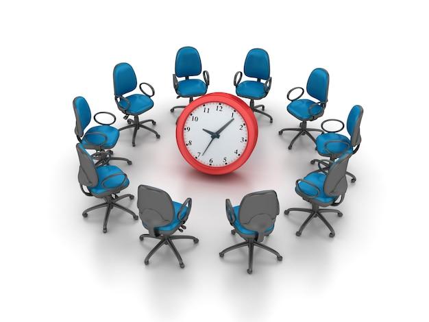 Renderowanie Ilustracji Krzesła Z Zegarem Premium Zdjęcia