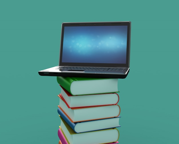 Renderowanie Ilustracji Książek Z Laptopem Premium Zdjęcia