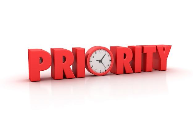Renderowanie Ilustracji Priorytetu Słowa Z Zegarem Premium Zdjęcia