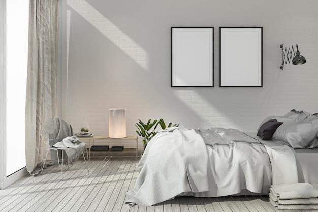Renderowanie makiety sypialni skandynawskiej z drewna w kolorze białym Premium Zdjęcia