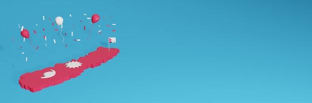 Renderowanie Mapy 3d W Połączeniu Z Flagą Kraju Nepalu Dla Mediów Społecznościowych I Dodaną Okładką Tła Strony Internetowej Czerwone I Białe Balony Z Okazji święta Niepodległości I Narodowego Dnia Zakupów Premium Zdjęcia