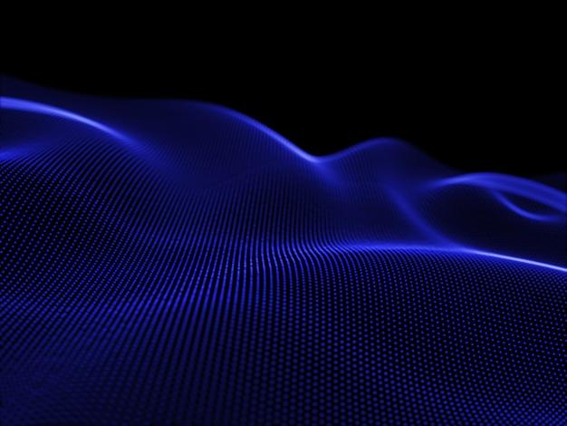 Renderuj 3d Płynących Cząstek, Tworząc Abstrakcyjny Krajobraz, Nowoczesną Technologię Darmowe Zdjęcia