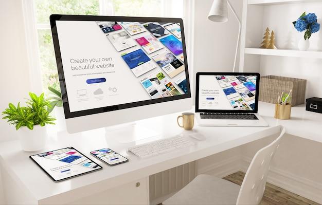 Responsywne Urządzenia W Konfiguracji Domowego Biura Przedstawiające Renderowanie 3d Przez Kreatora Witryn Internetowych Premium Zdjęcia