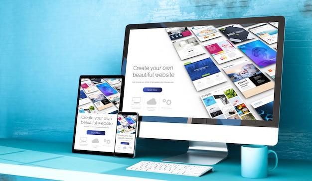 Responsywne Urządzenia Z Narzędziem Do Budowania Stron Internetowych W Blue Studio Premium Zdjęcia