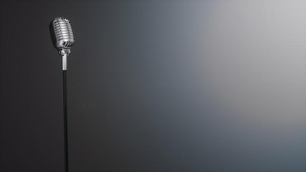 Retro Srebrny Mikrofon Na Szaro Premium Zdjęcia
