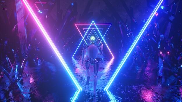 Robot Biegnący W Abstrakcyjnej Przestrzeni Kosmicznej Wzdłuż Neonowych Kształtów Geometrycznych I Kryształów. Premium Zdjęcia
