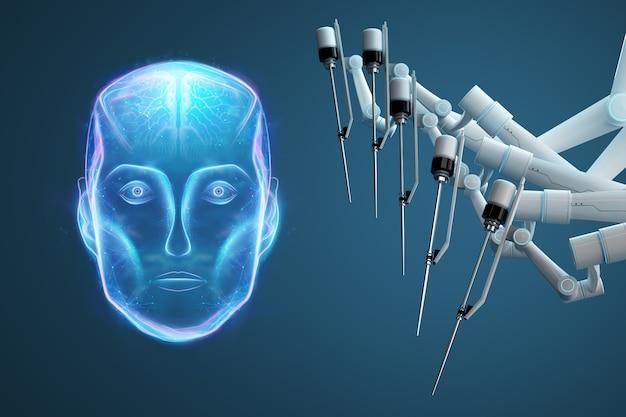 Robot Chirurg, Sprzęt Robotyczny, Manipulatory. Minimalnie Inwazyjne Innowacje Chirurgiczne Z Trójwymiarowym Przeglądem. Technologia, Przyszłość Medycyny, Chirurg. 3d Odpłacają Się, 3d Ilustracja. Premium Zdjęcia
