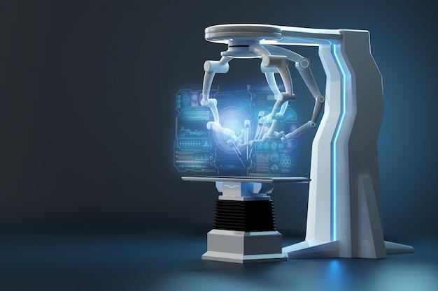 Robot Chirurg, Sprzęt Robotyczny. Minimalnie Inwazyjne Innowacje Chirurgiczne Z Trójwymiarowym Przeglądem. Technologia, Przyszłość Medycyny, Chirurg. 3d Odpłacają Się, 3d Ilustracja. Premium Zdjęcia