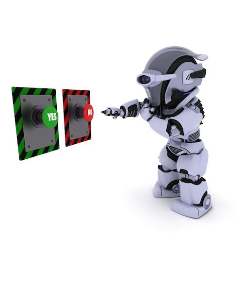 Robot Decyduje, Który Przycisk Nacisnąć Darmowe Zdjęcia