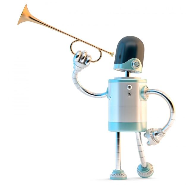 Robot Z Trąbką. 3d Ilustracji. Zawiera ścieżkę Obcinania. Premium Zdjęcia