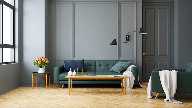 Rocznika Nowożytny Wnętrze żywy Pokój, Zielona Kanapa Z ścienną Lampą Na Drewnianej Podłoga Premium Zdjęcia