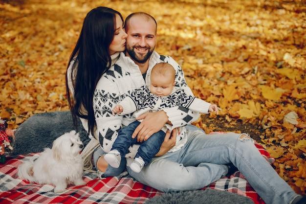 Rodzina Z Synem W Jesień Parku Darmowe Zdjęcia