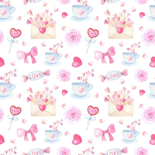 Romantyczne Akwarela Bezszwowe Wzór Z Różowego Serca Na Białym Tle Premium Zdjęcia
