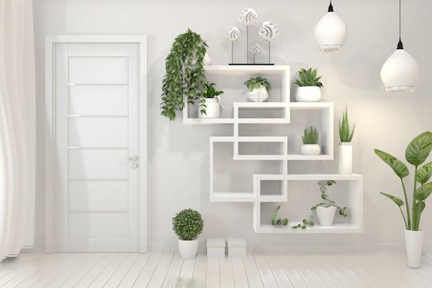 Rośliny na półce o konstrukcji minimalistycznej. Premium Zdjęcia
