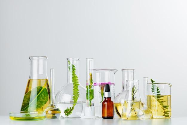 Rośliny W Szklanych Naczyniach Laboratoryjnych. Koncepcja Badań Chemicznych Produktów Do Pielęgnacji Skóry I Leków Premium Zdjęcia