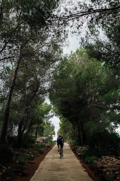 Rowerzysta, Jazda Na Rowerze O Zachodzie Słońca W Lesie Darmowe Zdjęcia