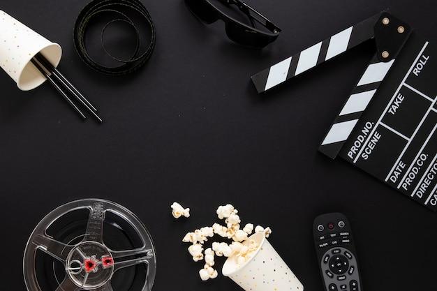 Rozmieszczenie Elementów Filmu Na Czarnym Tle Darmowe Zdjęcia