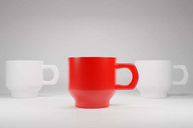 Różnica Kolor Kubek Kubek Kawy I Herbaty Ilustracja 3d Dla Koncepcji Unikalnej Lub Lidera Premium Zdjęcia