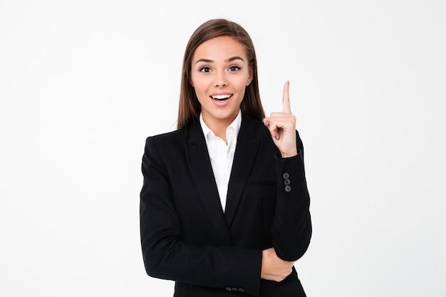 Rozochocona Biznesowa Kobieta Wskazuje Copyspace. Darmowe Zdjęcia