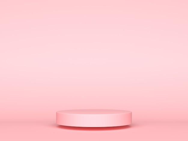 Różowa Geometryczna Koncepcja Tła Wyświetlacza Produktu 3d, Abstrakcyjny Cylinder Podium, Okrąg Do Kreatywnych Reklam Reklamowych. Renderowanie 3d Premium Zdjęcia
