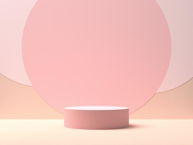 Różowa Okrągła Scena Na Różowym Tle Z Okręgami Pośrodku. Tło Do Wyświetlania Produktów. Renderowanie 3d Premium Zdjęcia