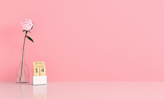 Różowa róża w różowy pokój dla makiety Premium Zdjęcia