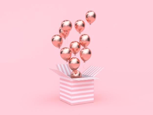 Różowe białe pudełko otwarte metaliczny balon w kolorze różowego złota pływający minimalistycznie różowy Premium Zdjęcia