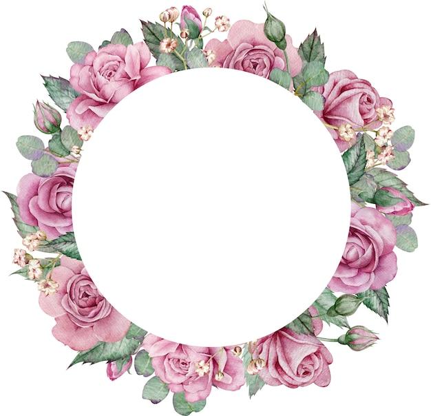 Różowe Róże I Rama Koła Eukaliptusa. Akwarela Ręcznie Rysowane Kwiatowy ślub Ramki. Premium Zdjęcia