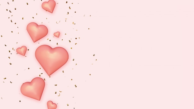 Różowe Serca Na Tle Złotego Konfetti Premium Zdjęcia